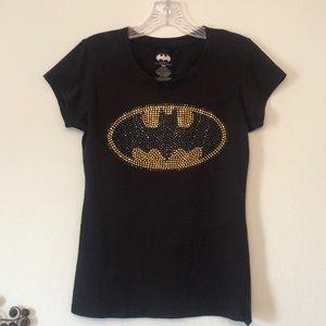 Dc Comics Black Batman Studded Logo T-shirt